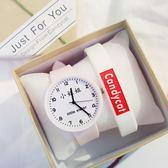小姐姐小哥哥手表文字情侶男女學生手表可愛糖果色硅膠手表  魔方數碼館