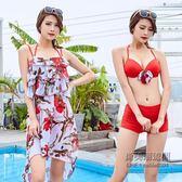泳衣女分體三件套平角性感帶罩衫鋼托胸聚攏胸溫泉泳裝批發「尚美潮流閣」