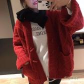 2019秋季新款女裝牛角扣寬鬆慵懶風加厚毛衣開衫女中長款針織外套「時尚彩虹屋」