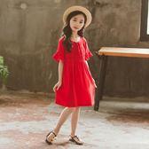 禮服 紅色女童夏裝公主裙子連身裙洋氣韓版兒童中大童女孩衣服【全館九折】