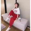 2019新款寬鬆雪紡束腳褲運動褲女夏裝高...