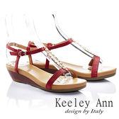 ★零碼出清★ Keeley Ann 夏日美型 ~ 排珠金屬造型Q軟牛皮涼鞋(紅色)