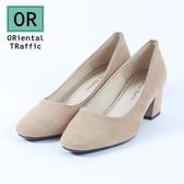 【ORiental TRaffic】純色金線微方頭中跟鞋-簡約米