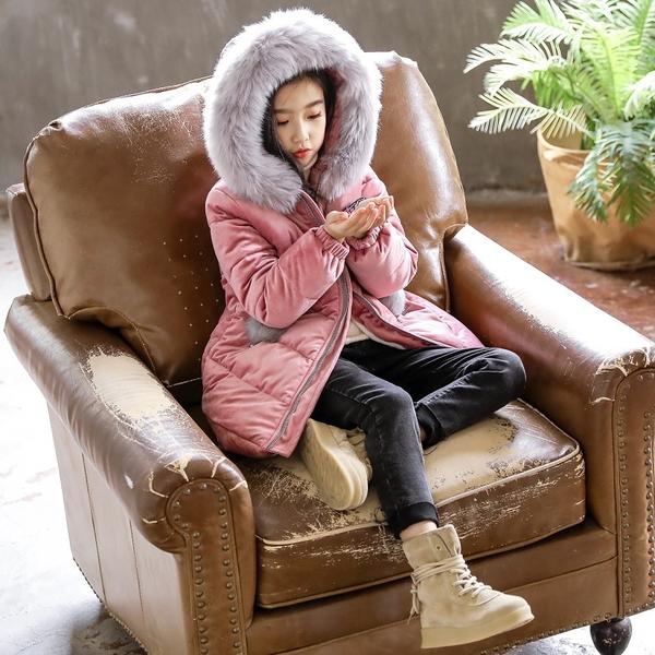 女孩連帽防風百搭女童外套羽絨服 女兒童裝中大女童潮流棉服外套 韓加厚保暖秋冬洋氣加絨夾克