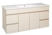 *素雅簡約風*洗臉盆浴櫃 寬121*深47cm 含水龍頭及安裝配件 防水PVC發泡板 精緻木紋貼皮