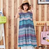 【Tiara Tiara】百貨同步新品ss  圖騰印花小包袖洋裝(紫)