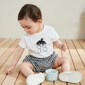 嬰兒連體衣格紋男女寶寶假兩件純棉連身衣 潮流衣舍