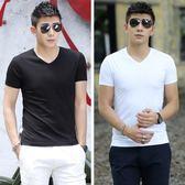 夏季短袖T恤男冰絲薄款素面V領半袖男裝打底衫潮流白色體恤上洋裝【快速出貨八五折鉅惠】