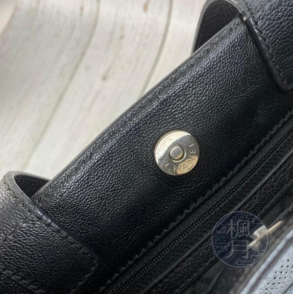 BRAND楓月 CHANEL 香奈兒 11開 黑色小托特 菱格經典雙C LOGO 手提包 單肩背包 托特包