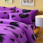Pure One 超保暖搖粒絨 - 愛戀惡魔 - 紫 [獨家設計款] @ 雙人超厚兩用被套床包組 @台灣製 @SGS檢驗合格