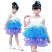 元旦兒童舞蹈服雪寶寶錶演服兒童蓬蓬紗裙演出服下雪了幼兒舞蹈服 艾美時尚衣櫥