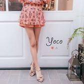 東京著衣【YOCO】小貴族花朵印花開衩褲裙-S.M.L(170127)
