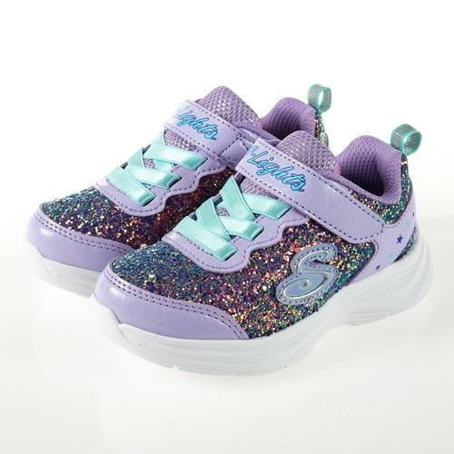 SKECHERS GLIMMER KICKS 閃鑽燈鞋 紫色 輕量 魔鬼氈 小童鞋 NO.R5462