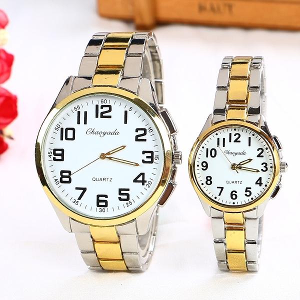 老人手錶男女大數字防水爸爸媽媽中老年人手錶中年大氣鋼帶石英錶 樂活生活館