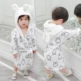 兒童睡袍浴袍女童家居服秋裝新款小童浴袍兒童法蘭絨系帶連帽睡袍男童寶寶睡衣