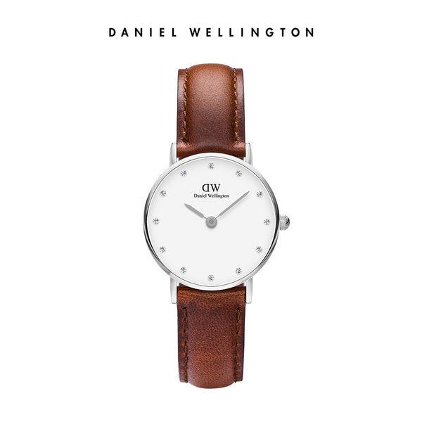 Daniel Wellington DW 手錶 官方旗艦店 26mm銀框 Classy 棕色真皮鑽石錶