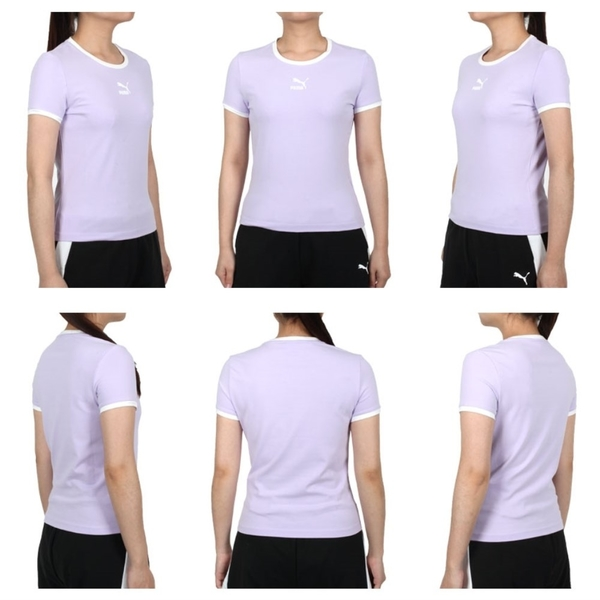 PUMA 女貼身短袖T恤(休閒 上衣 Classics 歐規 免運 ≡排汗專家≡
