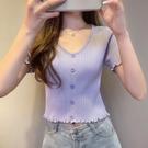 露臍上衣 法式短款上衣女夏短袖T恤紫色冰絲高腰露臍薄款修身木耳邊針織衫 韓國時尚 618