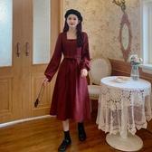 裙子秋季2020新款小個子方領長袖洋裝女秋冬收腰法式復古A字裙 【雙11】