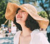 韓國出游沙灘大檐草帽韓版 夏天海邊可折疊遮陽帽子女士防曬太陽帽【壹電部落】