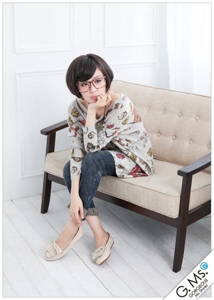 G.Ms. 流蘇蝴蝶結真皮莫卡辛豆豆鞋‧牛皮奶油米