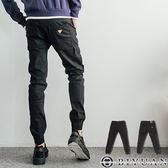 專櫃品彈性工作褲【P2028】OBIYUA N三角皮標束口單寧休閒褲 共1色