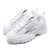 Fila 鋸齒鞋 Disruptor II Metallic Accent 白 銀 女鞋 運動鞋 老爹鞋 韓系 【PUMP306】 5C608T103