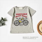 美式復古摩托車字母T 恤竹節棉舒適短袖上衣短T 男童 美式復古棉質哎北比