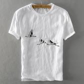 亞麻T恤-棉麻大雁刺繡白色短袖男上衣73xf15【巴黎精品】