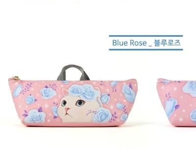Jetoy,甜蜜貓 提袋式 筆袋_Blue rose