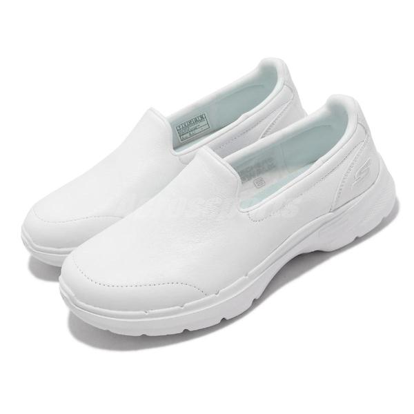 Skechers 健走鞋 Go Walk 6 Dorin 女鞋 全白 白 護士鞋 套入式 休閒鞋【ACS】 124511-WHT