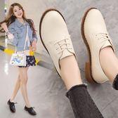春秋季厚底布洛克女鞋英倫學院風單鞋粗跟系帶牛津鞋圓頭小白皮鞋