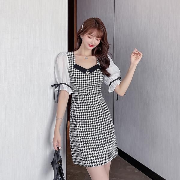 VK精品服飾 韓系雪紡拼接千鳥格紋修身寬領優雅短袖洋裝