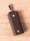 鑰匙包 [子藝]手工純色瘋馬皮原創復古真皮文藝男士頭層牛皮腰掛鑰匙包潮 快速出貨