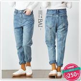 男友褲 後中線車縫抽鬚褲管直筒牛仔褲S~XL號-BAi白媽媽【121995】