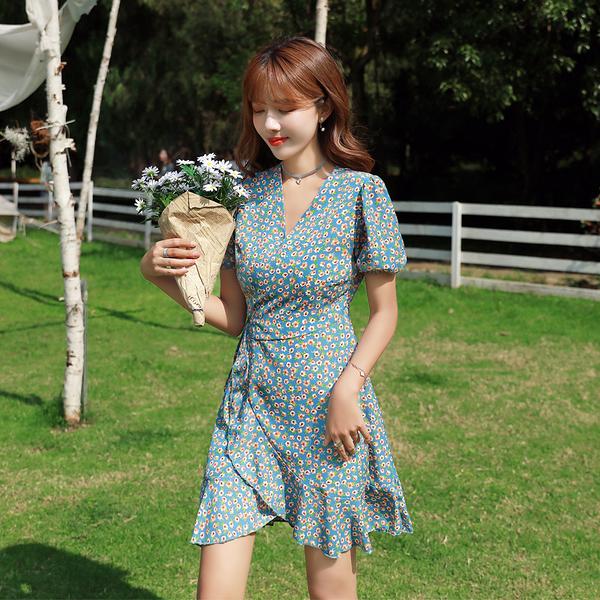 VK旗艦店 韓國風一片式系帶荷花邊不規則雪紡碎花短袖洋裝
