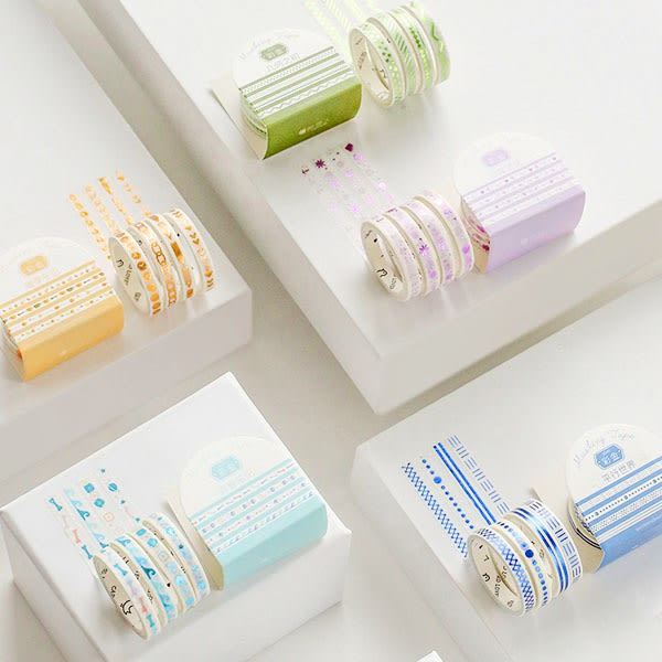 【BlueCat】slim彩金青春筆記系列和紙膠帶 手帳貼紙 (4入)