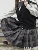 潛意識原創森女部落正版JK制服格裙暗黑系格子裙半身裙a字裙秋冬 怦然心動
