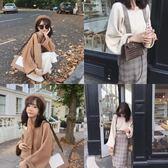 針織衫 秋天是穿罩衫的季節哦~洋氣廓形v領羊毛針織衫寬鬆罩衫