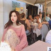 ❤Princess x Shop❤秋季韓版慵懶風時髦幻彩紗線鏤空馬海毛毛衣DL0891818正韓洋裝一字領露肩性感