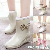新款秋冬雨鞋女日韓時尚雨靴可愛蝴蝶結中筒水鞋套鞋膠鞋