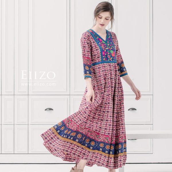 【EIIZO】尼泊爾手工刺繡柔棉洋裝(粉)