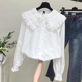2019春裝新款拼接木耳邊長袖白色襯衫女寬鬆上衣大翻領娃娃衫襯衣
