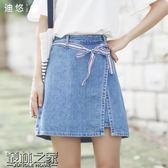 夏季新款韓版綁帶牛仔半身裙女裙子a字裙短裙百搭學生【叢林之家】