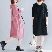 休閒風素色連帽洋裝-中大尺碼 獨具衣格 J2431