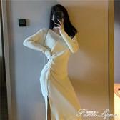 V領抽繩高腰開叉針織裙子女秋冬季新款修身顯瘦中長款連身裙 范思蓮恩