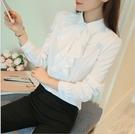 特惠大尺碼!白色襯衫女2020秋裝新款修身長袖職業工裝襯衣面試上班工作服秋天