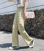 善狼恒美黑白格子褲子女寬鬆直筒垂感高腰夏季薄款休閒拖地闊腿褲 町目家