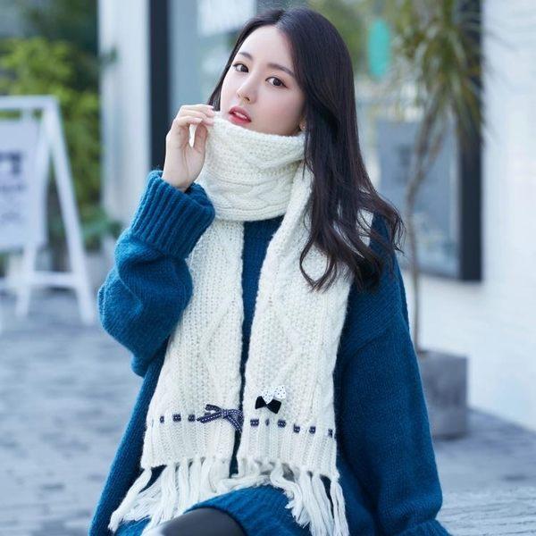 圍巾女冬天韓版潮波點蝴蝶結學生圍巾加厚保暖針織圍脖披肩