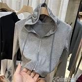 2021春新款拉鏈連帽小開衫女顯瘦高腰BM風短款長袖上衣小外套潮 快速出貨